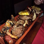Mixed grill to share- sausage, chicken, lamb, pork, steak, prawns with salad and chips included