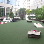 outdoor bar with games and outdoor movies and sports