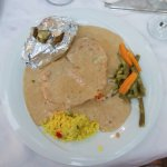 Schnitzel with blue cheese sauce
