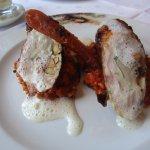Roulade aus Wachtel, Huhn, Bacon und Pfifferling auf Tomatenrisotto