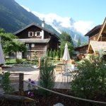 Wonderful little outside area with pool and sunbeds viewing Mont Blanc