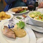 "Gluten free roast pork and the ""small"" salad"