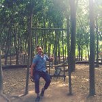 Swinging with Monkey at Monkey Forest,Ubud