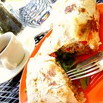 Fried Coconut Shrimp w/ Dirty rice and Arugula burrito