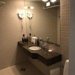 Stylish bedroom and bathroom