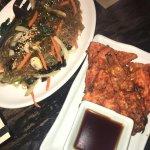 Japchae and kimchi scallion pancake