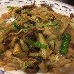 Sautéed flat noodle, aka chow fun. So delicious