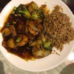 Shrimp in brown sauce, wonton soup, chicken egg foo young, Mongolian chicken, egg drop soup