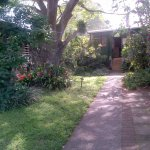 Path from carport to reception
