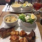 Chicken and huge lamb chops. Sweet bulgar wheat and salad