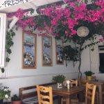 Seven Café in Ano Vera - lovely veranda overlooking the Monastery