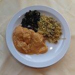 Chicken Malaya with mushroom rice and spinach
