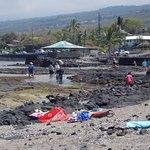 Water entry to Kahalu'u snorkeling