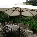 relax under the shade of the umbrella over the patio