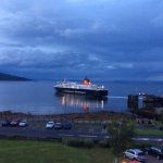 View of ferry leaving Brodick pier.