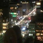View from rooftop bar at night along Shijo-dori