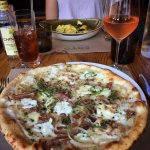 Wood-fired pizza! Lovely rosé wine (by the glass).