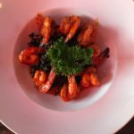 Shrimp with black rice, sweet potato, kale and chipotle cream sauce