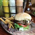 Burger with Jalapeños & sweet potato fries