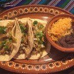 Carnitas with rice and beans: delicious!