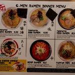 Partial dinner menu`
