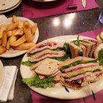 Turkey Club with steak fries