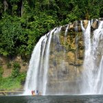 For Php 150 a bamboo raft can take you right under the falls!
