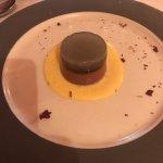 Timballo di riso con finferli Polenta fonduta uovo Anatra Maialino Armonia di cioccolato