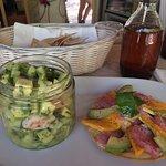 tuna tostada and shrimps avocado ceviche