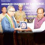 HE LG Shri Jagdish Mukhi felicitating Shri Mohd Jadwet. Applauded by HE MP Shri V P Ray