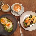 Avocado on toast two ways: poached egg & chili, halloumi & superseed