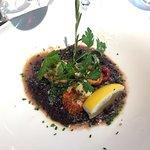 Une belle tranche de foie gras, un presse de porcelet , Saint Jacques et risotto..