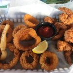 Fried shrimp basket with onion rings. 17.49