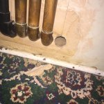 Copper pipes and loose plaster