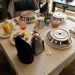 Breakfast room service. Very elegant.