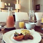 Gourmet breakfast in the dining room.