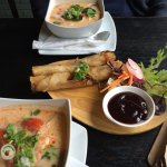 Great Thai food at the Old City Arms pub, Hammersmith: prawn tom kha & duck spring rolls
