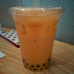 Thai sweet milk bubble tea. Yummy.