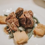 Slow cooked beef with crispy polenta and vegetables