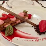 chocolate mousse with raspberry sorbet