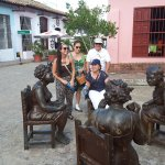 We at the Three The gossips ladies sculptures. My niece, my sister, my wife(seated) & me