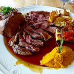 Roast beef with pumpkin and Yorkshire pudding