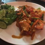 King prawns (jn the shell) in a red curry sauce
