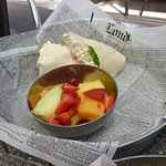 Chicken Salad wrap served with a bowl of mixed fresh fruit turned out to be a cool lunch choice.