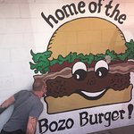 My husband excited to discover the Bozo Burger