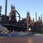 Open air music right in front of Hoover Mason Trestle and steel works