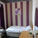 Th single room had purple stripes and a collapsing curtain