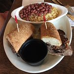 french dip with red beans and rice instead of fries