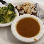 Hamburger Steak with Grilled Onions, Gravy, Broccoli