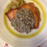 Salmon with Barley, Fennel and Sweet Potato Puree
